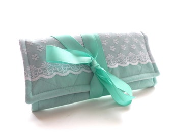 Travel Jewelry Roll Lace Aqua Mint Bridesmaid Gift Travel Accessories