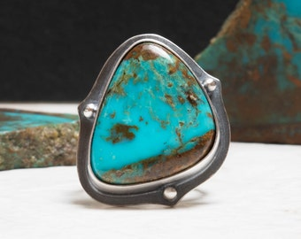 Kingman Turquoise Ring - 6.5, Sterling Silver, Oxidized