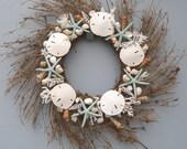 Seashell wreath, starfish wreath with coral, coastal wreath