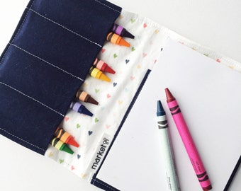 Kids Crayon Wallet & Scribble Pad | Sketched Hearts in multicolour | Kids Travel Activity