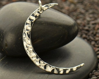 Large Sterling Silver Hammered Crescent Moon Charm -Modern-Nature -Sky-Holiday