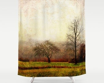 rustic shower trees shower curtain nature shower landscape shower rural bathroom