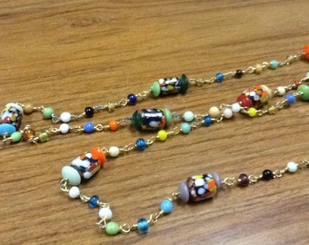 """Hippie glass beaded neacklace 48 """" 1960's hand made NOS. Buy one get one FREE sale!"""