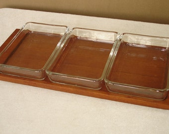 50s Teak Tray Condiment Set with 3 rectangle Glass Bowls, Mid Century Modern (3) Germany
