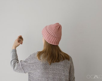 Fisherman Hand Knit Beanie, Rose Quartz Hat, Modern Beanie