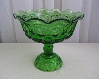 Vintage Large Moon and Star Green Glass Open Compote LG Wright