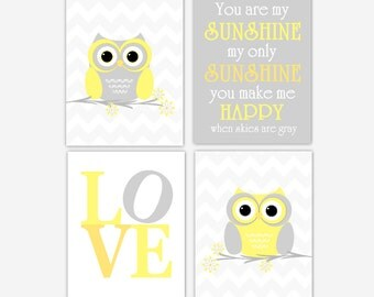 Baby Nursery Wall Art Yellow Gray You Are My Sunshine Owl Nursery Decor Chevron Baby Boy Baby Girl Nursery Prints Baby Nursery Decor Owl Art