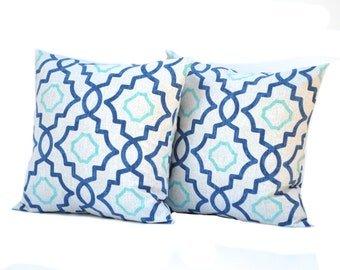 Two geometric pillow covers, cushion, decorative throw pillow, decorative pillow, accent pillow, pillow case
