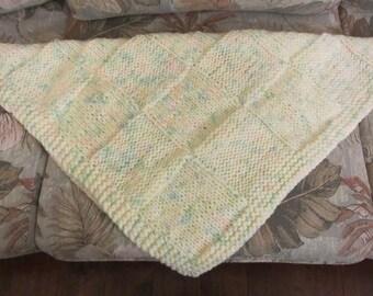 Baby Blanket, Handmade Knit Afghan,Lap Blanket