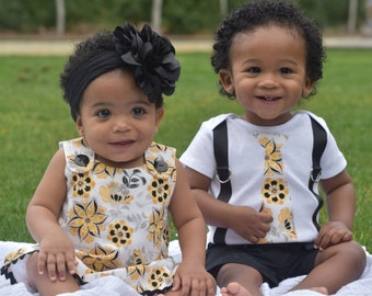 Matching Brother Sister Boy Girl Twin-Milly& Matthew(black, white and yellow)[ALTOMM]