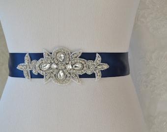 Navy Blue Wedding Sash-Bridesmaid Sash Wedding Sash-Bridal Sash-Rhinestone Sash-Beaded Sash