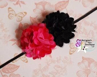 Mini Hot PInk Black Satin Tulle Flower Skinny Headband, Baby Girl, Flower Headband, Small Flower Headband, Preemie Headband - SB-038