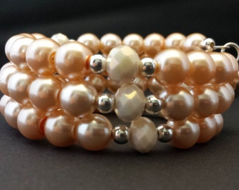 8mm Peach Glass Pearls and 8mm Matte Light Peach Glass Crystals Memory Wire Bracelet.