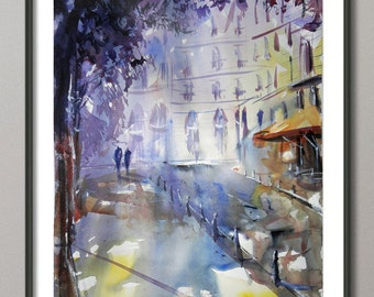 Paris Painting, Watercolor, Poster Paris France, Giclee print , Modern wall art
