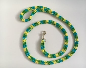 Spring Dog Leash for Small Dogs in a Four Foot Length with Lime Green, Yellow and Blue Stripes