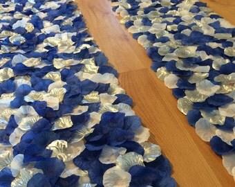Blue, white and silver wedding aisle runner border, custom made