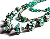 Green Bohemian multi strand necklace, Green Boho lampwork necklace with Amazonite and Chrysocolla, Emerald Boho layered necklace, Boho chic