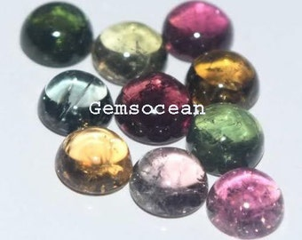 Lot Of 10 Piece Natural Multi Tourmaline 5x5 MM Round Cabochon Loose Gemstones