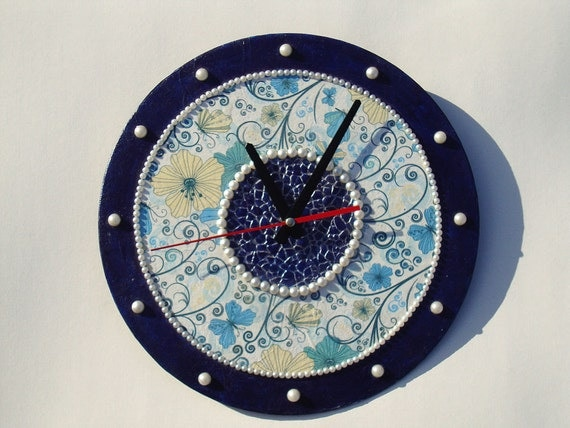 Blue Wall Clock Wall Decor Unique Wall Clock Mosaic By