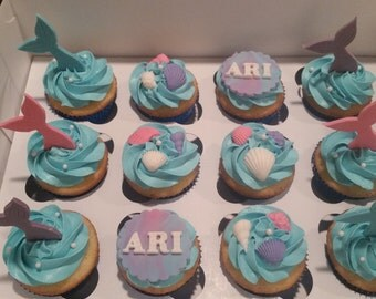Mermaid edible cupcake toppers