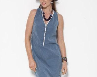 ON SALE, Blue Summer Dress, Clothes Women, V neck Dress, High Fashion, Sleeveless Dress, Summer Dress Women, Day Dress, Midi Dress