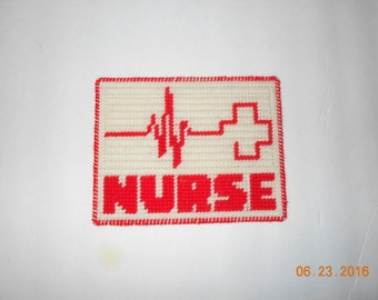 Nurse Wall hanging in Plastic canvas (color choice)