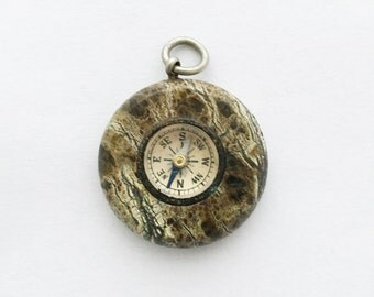 1920s Vintage Marble Compass Fob