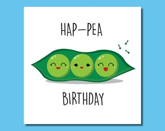 Hap-Pea Birthday card / Greeting Card / Celebration (with Personalised Option) by Hungry Design