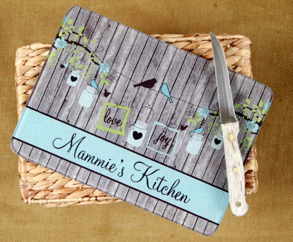 Personalized Christmas Gift for Grandma Personalized Glass Cutting Board Custom Monogrammed Gifts for Mom Kitchen Gift Mason Jars Birds