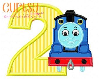 Birthday Embroidery Design, Thomas Embroidery Design, Second Birthday Applique Design, 2nd Birthday, Thomas the Train