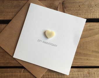 20th Anniversary Card with Magnetic Love Heart Keepsake