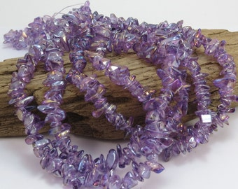 Amethyst Glass Chips, 36 inch Strand, Purple Glass Beads with Aurora Borealis Finish, Beading Supplies, Item 908gs