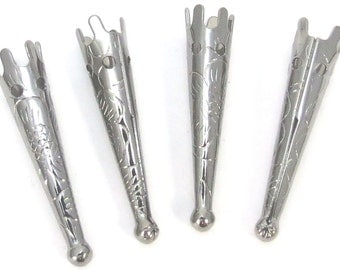 Bolo Tips, 33x7mm Gunmetal Plated Steel, 10 Bolo Tips with Flower Design, Item 899m