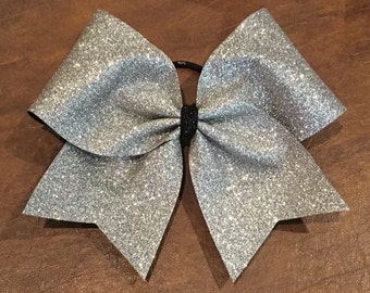 Cheer Bow - Silver Glitter