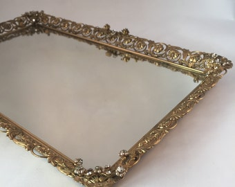 "Beautiful Ornate Dresser Top Mirror Tray, Oblong 15-1/4"" X 9-1/4"" X 1"", Pearl and Rhinestones on Detailed Floral Design"