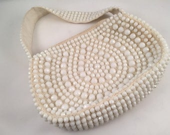 Roger Van S Beaded White 1960's Handbag - Vintage, Clean