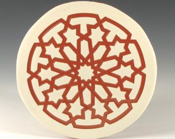 Terracotta Trivet - Art Tile - Moroccan Tile - Terracotta Tile - Handmade Tile - Decorative Tile Art - Hot Plate - Round Trivet
