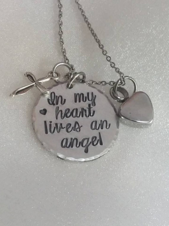 Sympathy Gift - Urn for Ashes - Ashes Necklace - In My Heart Lives an Angel - Memorial Necklace - Loss of Loved One -  Urn Pendant - Ash Urn