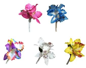 boutonniere double artificial silk orchids pick orchid color - Silk Orchids