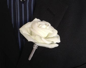 Boutonniere-Ivory rose with gray stem and bling accents-Pin included