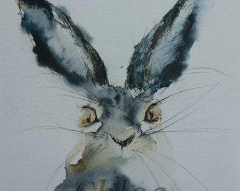 Curious hare- original sold
