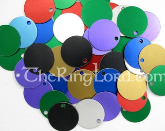 CUSTOMIZED Anodized Aluminum Tags - 1'' (25mm) diameter  1000 - hole/no hole/engraved
