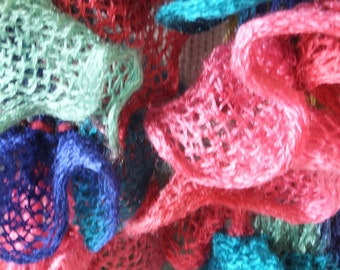 Multi coloured frilly scarf