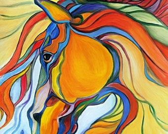 Horse acrylic painting print, Horse art, animal art, illustration print, animal acrylic, animal portrait, Horse painting