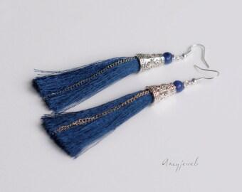 Long blue tassel earrings