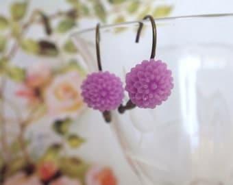 Sweet pink dahlia - earrings dangle very simple with sweet Resin Flower