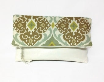 White Fold Over Clutch, White Vegan Leather Fold Over Clutch With Beige Green Ikat Fabric, Fold Over Zip Clutch, Vegan Leather Fabric Purse
