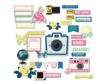 Printable retro camera scrapbook embellishments / vintage photography digital die cuts, word art / digital collage sheet / instant download