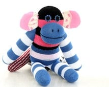 Personalized Cubby Sock Monkey Stuffed Animal Doll Baby Toys blue white sock doll  baby best gift children's photo props Toddler gift 2#