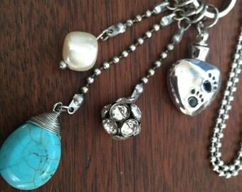 Rainbow Bridge paw print urn necklace